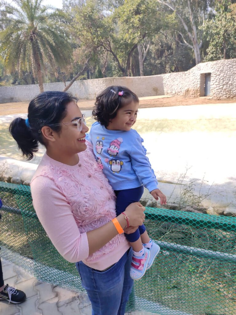 Baby with mother at Chhatbir Zoo