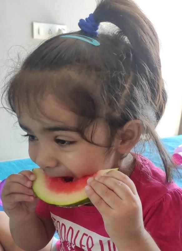 watermelon eating kid